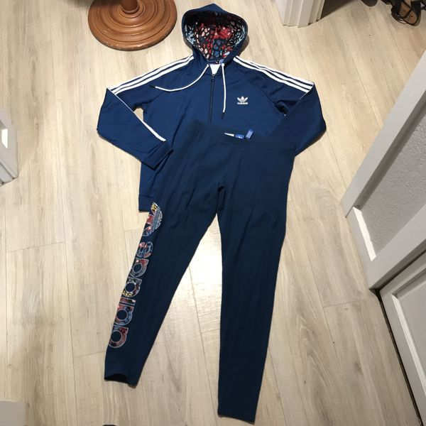 147934752f73c NWT ADIDAS FLORAL SLIM FIT ZIP-UP HOODIE & MATCHING LEGGINGS OUTFIT SET