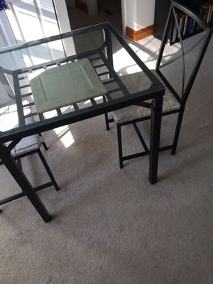 Glass dining table with two chairs for Sale in Alexandria, VA