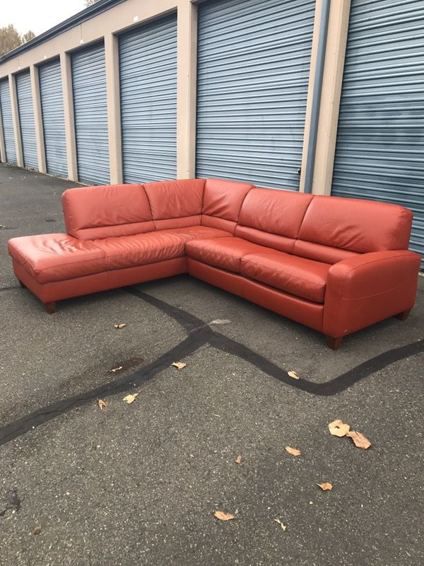 Italsofa Burnt Orange Leather Sectional Sofa Hide A Bed Obo For