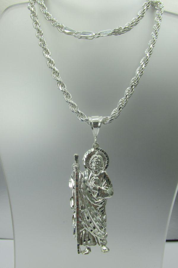 Cadena Torsal Con San Judas Tadeo En Plata 925 For Sale In Los Angeles Ca Offerup
