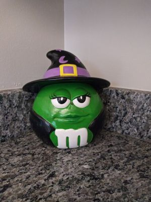 Green M & M Halloween Witch's Costume Ceramic Candy Cookie Jar Galerie for Sale in Gaithersburg, MD