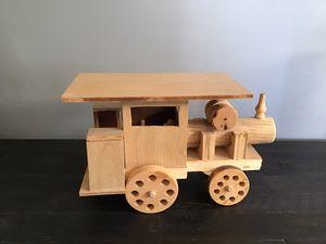 Photo Cute Homemade Wooden Train Engine
