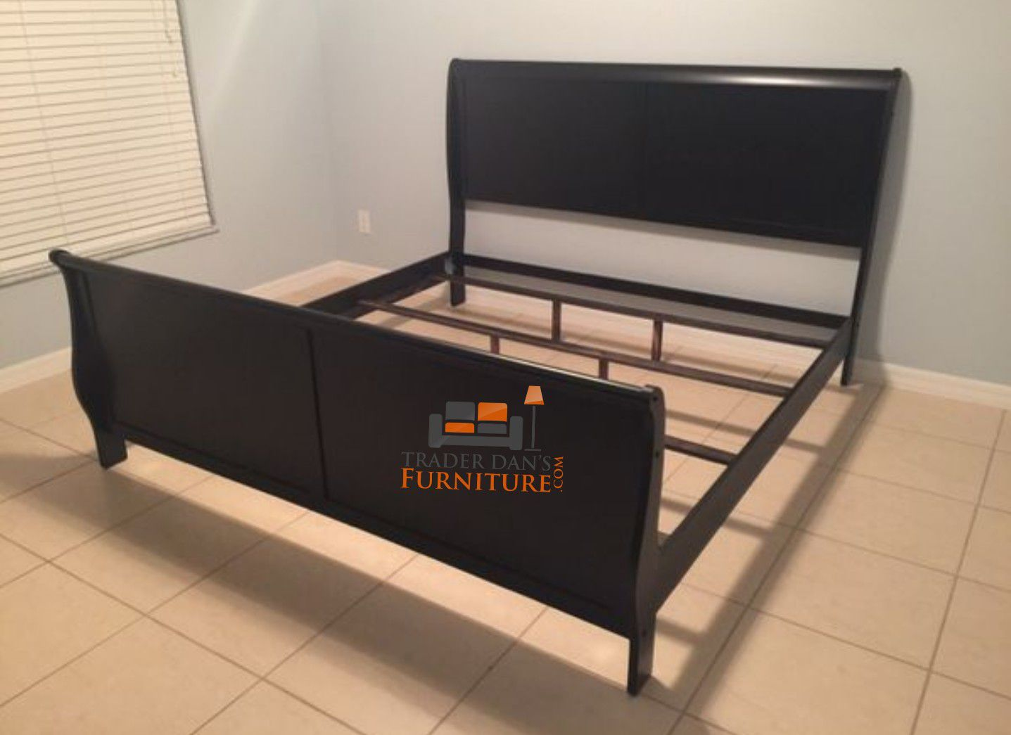 Brand New King Size Black Wood Sleigh Bed Frame