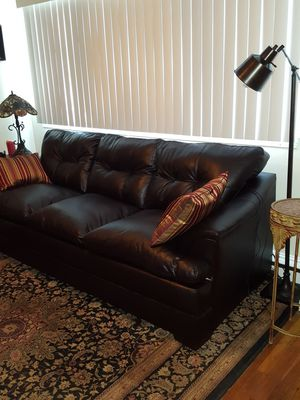 "Leather Look Sofa (87"") and Ottoman for Sale in Holbrook, MA"