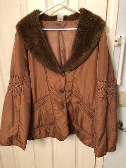 Brown nylon jacket with faux fur Thumbnail