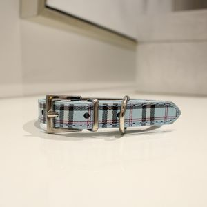 Blue Plaid Rhinestone Studded Pet Dog Collar S for Sale in Niles, IL