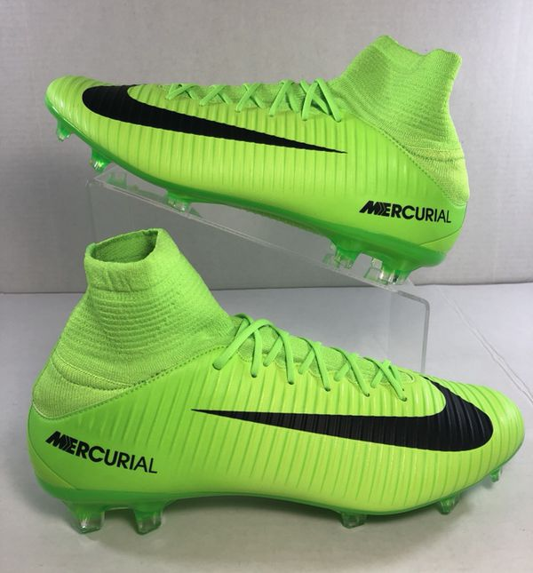 955f4190a66 NEW MENS NIKE SOCCER CLEATS MERCURIAL VELOCE III DF FG ID ELECTRIC GREEN- BLACK SIZE 10 831961-303