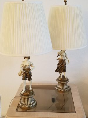L & F MOREAU ANTIQUE FIGURINE LAMPS-SET OF TWO(2) for Sale in Sterling, VA