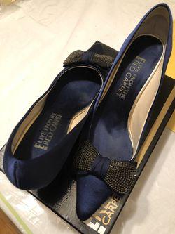 Red Carpet navy blue ladies dress shoes size 10 M Thumbnail