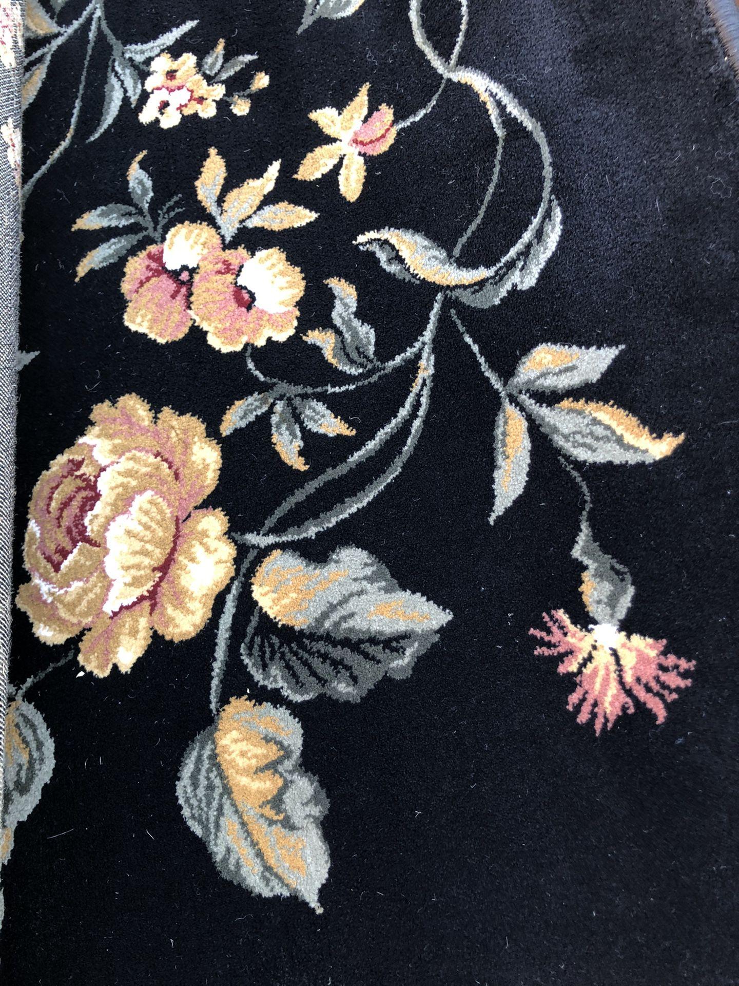 "7'8"" X 10' 2"" Beautiful Black Floral Rug"