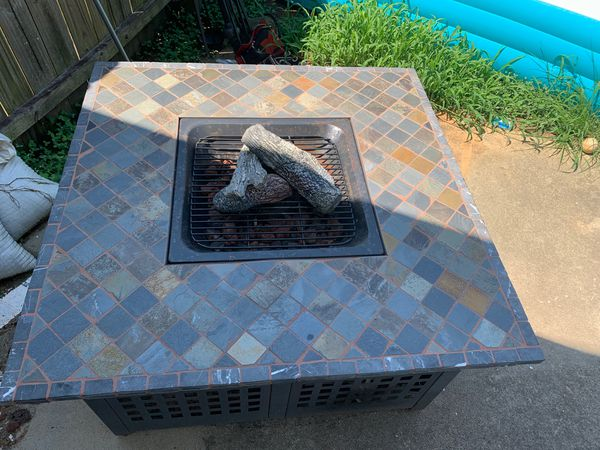 Square Lp Gas Fire Pit With Slate Mantel For Sale In