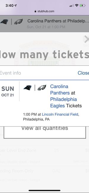 Eagles vs Carolina stand room tickets for Sale in Moorestown, NJ