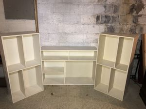 3 White Bookcases Display Shelves Solid Wood- Heavy Duty 47.5x12x23.5 Multiple Arrangements for Sale in Silver Spring, MD