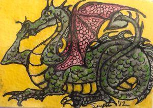 Photo Miniature art: original painting of Green Dragon