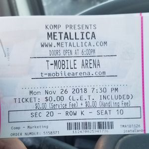 2 tickets to Metallica nov 26 for Sale in Las Vegas, NV