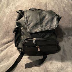 Black Leather Back Pack Thumbnail