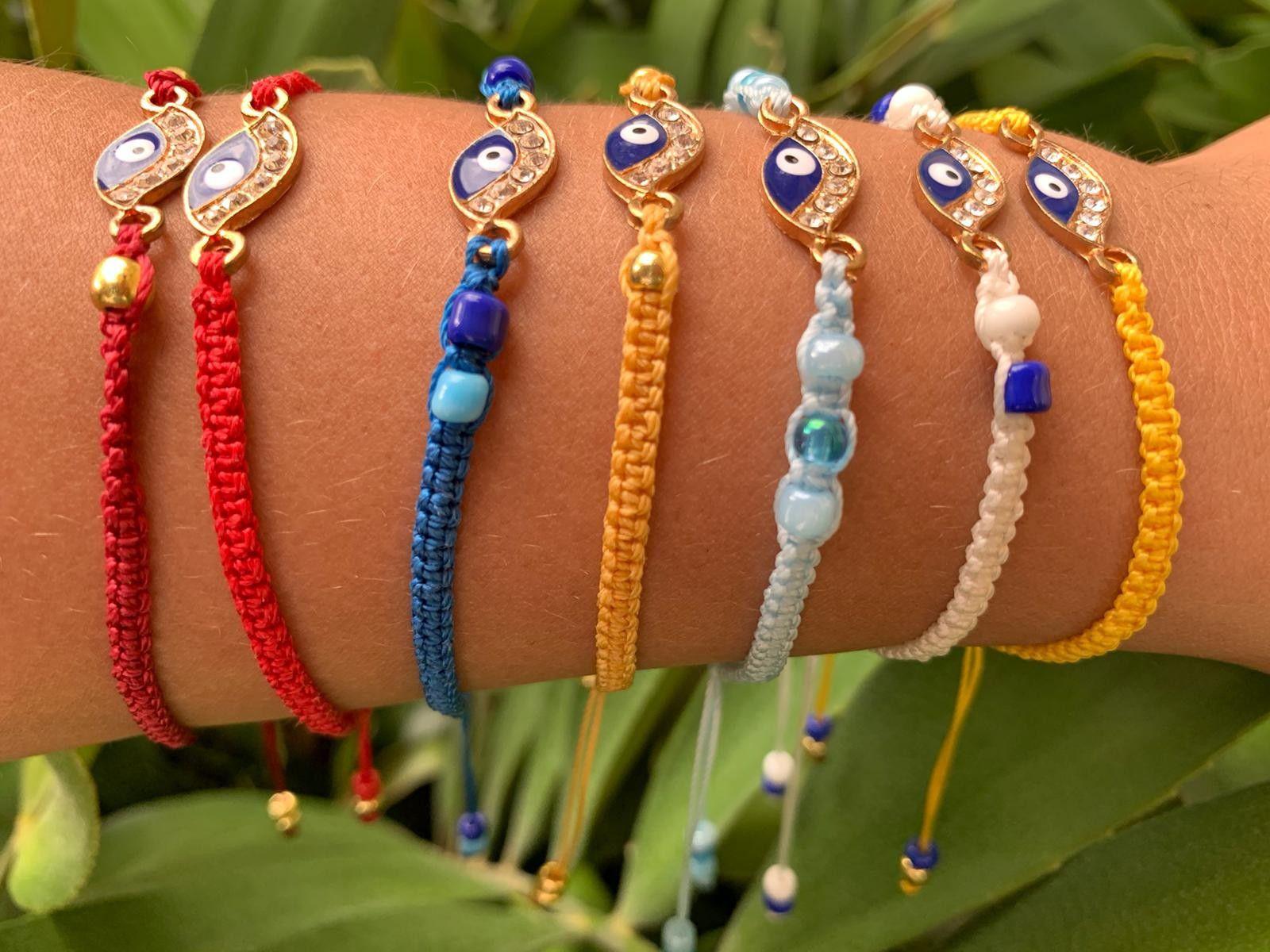 Handmade Macrame Bracelets,. Evil eye. Adjustable. Good Luck. Ojo Turcos