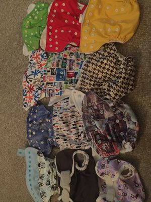 12 Cloth diapers lot pockets covers charcoal GroVia thirsties etc. for Sale in San Dimas, CA