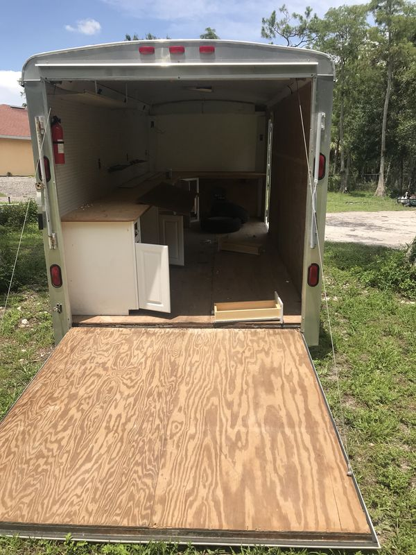 7x16 dry, good tires .Then use for storage/shed . Lights are not working I got Homemade registration fort this trailer. Naples, FL
