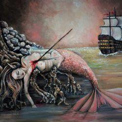 Original Mermaid Oil Painting 18 x 24 With Custom Wood Frame Thumbnail