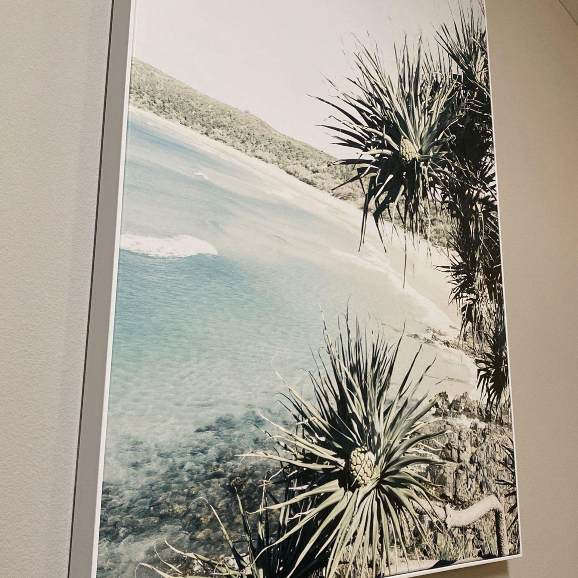Beach Canvas With White Frame