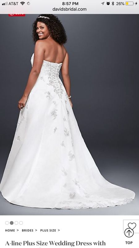 A Line Plus Size Wedding Dress Ivory Lace Up Back Comes In