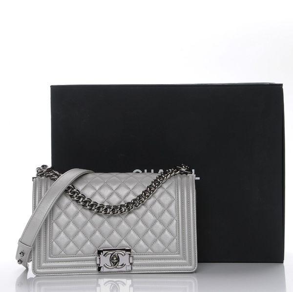 b62e66b48e4f43 NWT CHANEL Boy Old Medium bag metallic silver grey for Sale in ...
