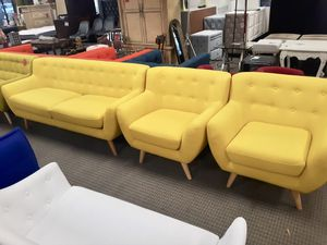 3pc mid century modern remark yellow sofa and chairs for Sale in Alexandria, VA