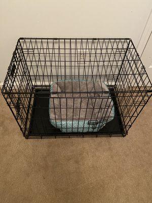 Photo Medium dog kennel, 2 doors and dog bed