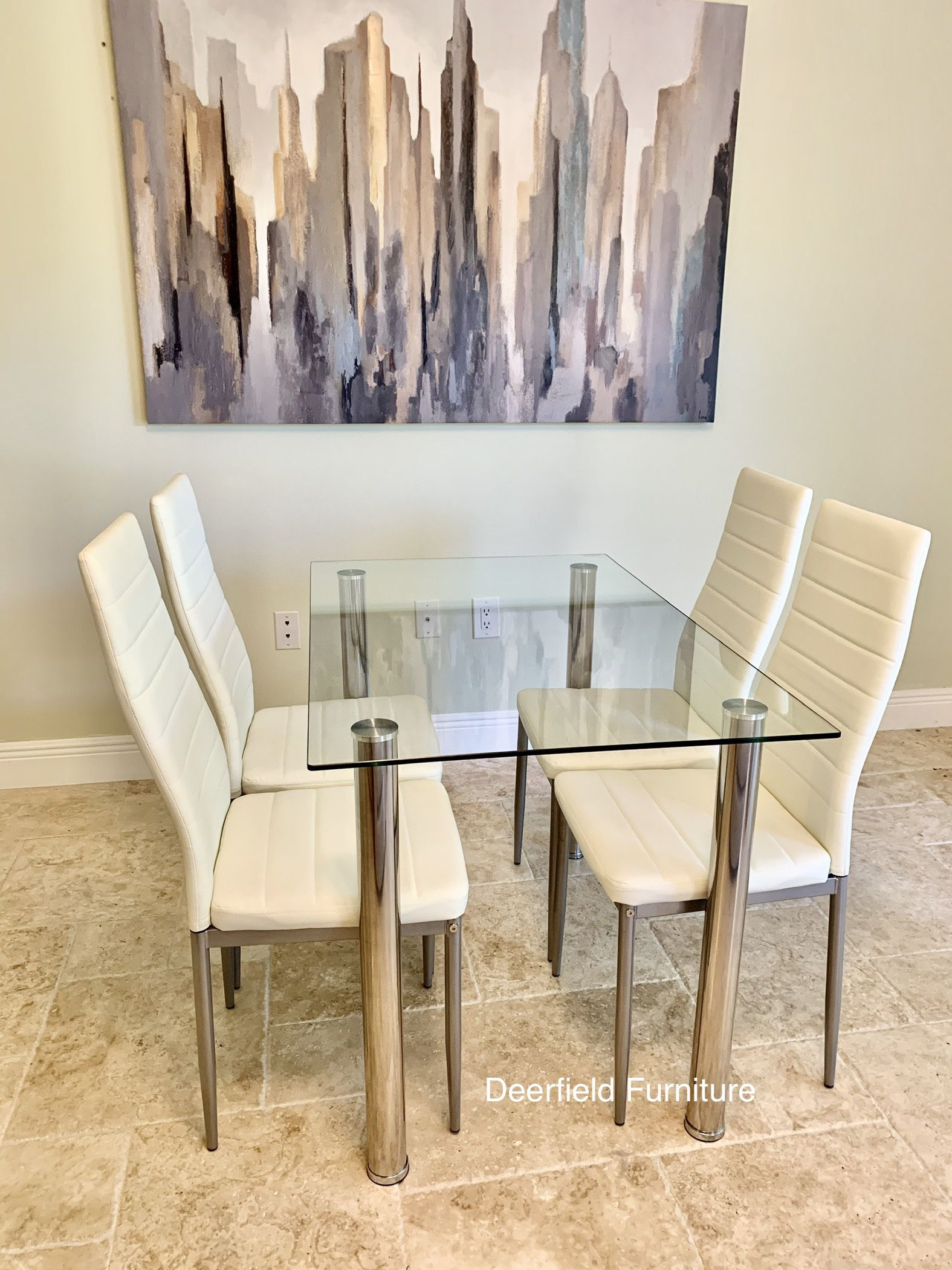 New White Dining Table Set with Tempered Glass Top Table & 4 Chairs - Dining Furniture Set