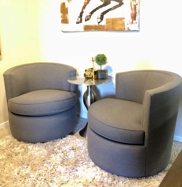 Room Board Set Of 2 Midcentury Modern Otis Swivel Chairs In Grey Brand New Retail 1398