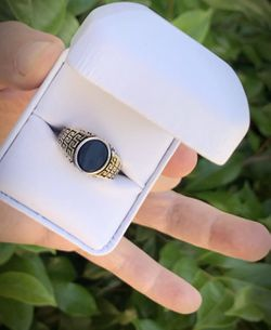 STATELY! Size 9 Solid 925 Sterling Silver GREEK KEY RING Gemstone: Smooth Oval Cut Cabochon Onyx MEN'S WOMEN'S UNISEX Thumbnail