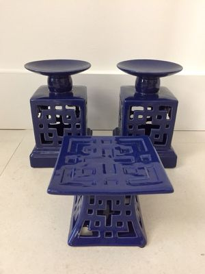 Trio of beautiful candlesticks in cobalt blue for Sale in Miami, FL