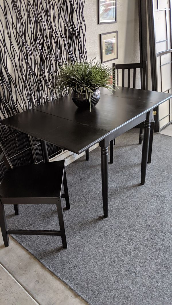 black ikea table and chairs kitchen dining for sale in