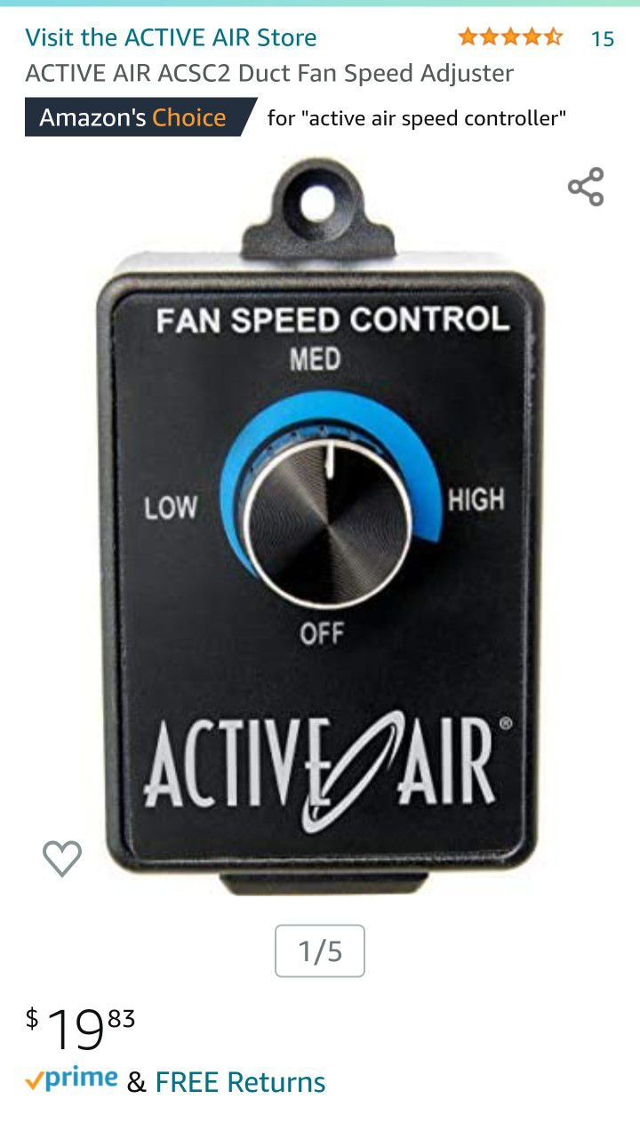 """Hydrofarm Active Air 4"""" Inline Duct Fan and Speed Controller"""