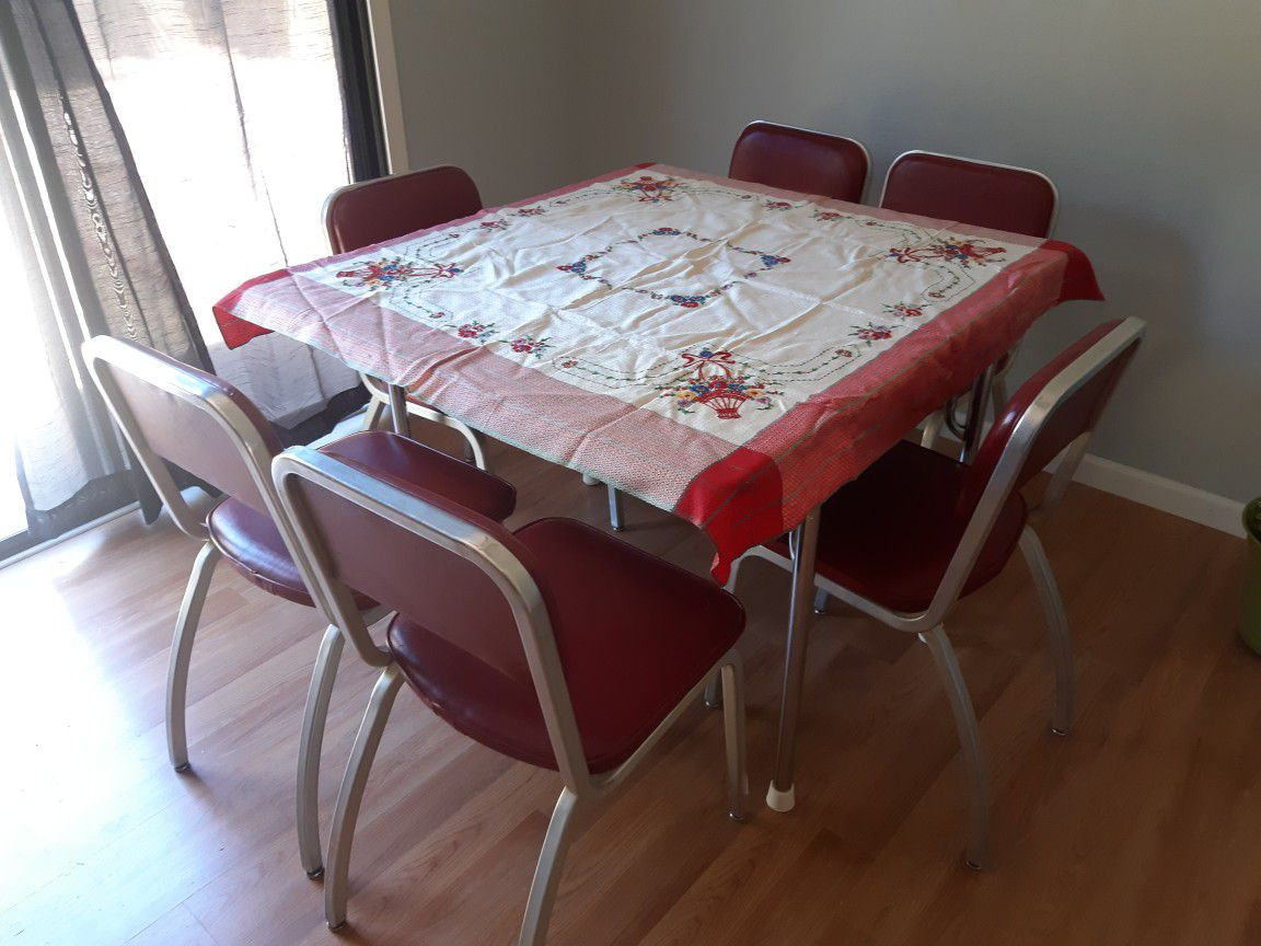 Vintage Retro Early 50s Mid Century Fomica Dining Table 6 Chairs MCM