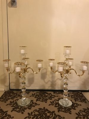 Brand new set of 2 crystal glass mirror gold trimmed stunning centerpiece candle holder check out my other listings on this page interested message me for Sale in MONTGOMRY VLG, MD