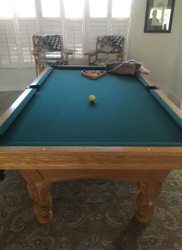 Pool Table Brand New Set Of Balls New Cover Two New Chairs With The - Brand new pool table