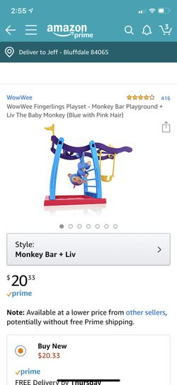 WowWee Fingerlings Playset - Monkey Bar Playground + Liv The Baby Monkey (Blue with Pink Hair) Thumbnail
