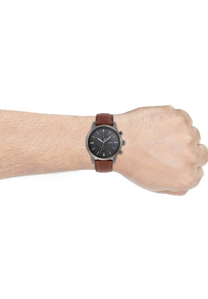 Fossil Men Townsman Stainless Steel and Leather Casual Quartz Watch