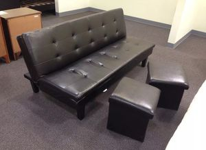 Brand New Espresso Faux Leather Tufted Futon Bed w/2 Storage Ottomans for Sale in Silver Spring, MD