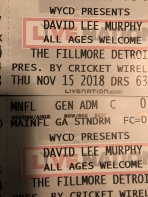 David Lee Murphy Nov 15 @ Fillmore for Sale in Roseville, MI