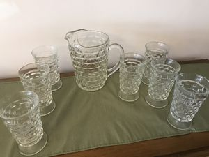 Antique Iced tea pitcher with 7 iced tea glasses for Sale in Warrenton, VA