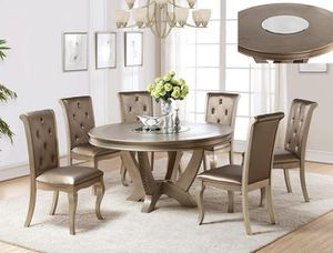 Brand new 7-piece 59 in round dining table set with lazy Susan for Sale in Washington, DC