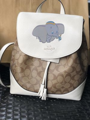 Photo Disney coach dumbo elephant white purse backpack new tags $428 spring sold out