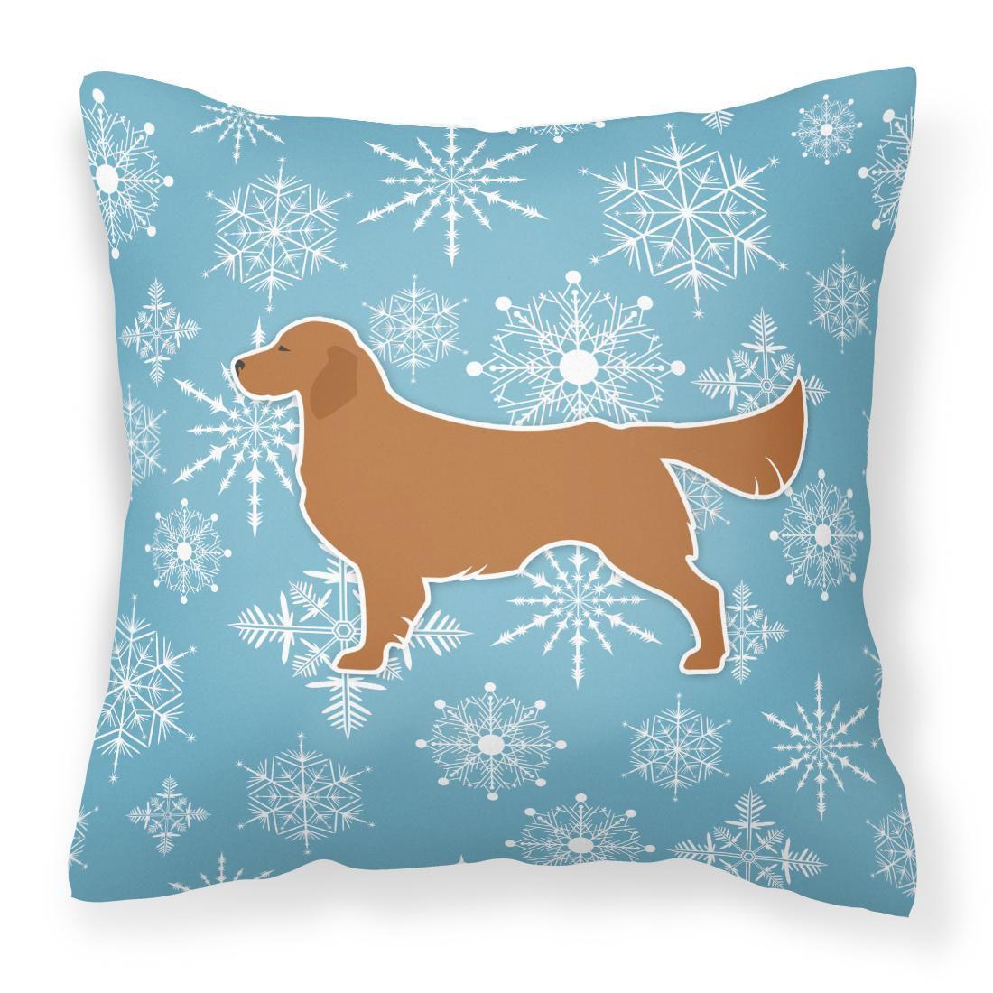 Caroline's Treasures BB3504PW1818 Winter Snowflake Golden Retriever Fabric Decorative Pillow , 18H x18W, multicolor