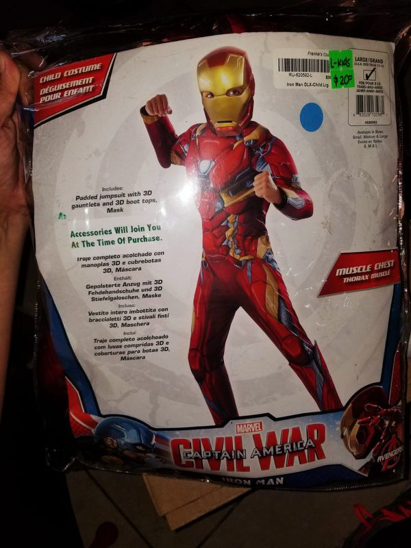 5044b06f4347 Marvel Avengers Iron Man Deluxe Muscle Chest Kids Child Large New Halloween  Costume
