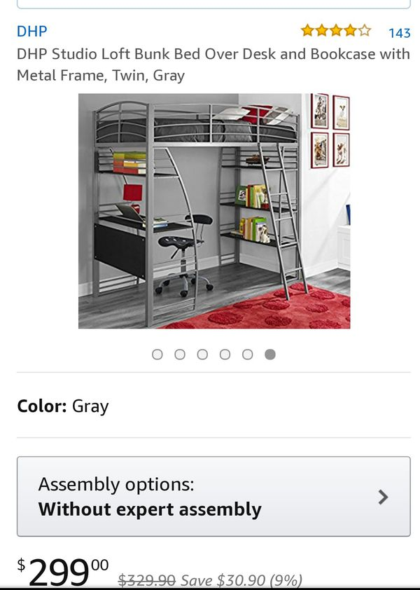 Used Dhp Studio Loft Bunk Bed Over Desk And Bookcase With Metal Frame Twin Black Gray Furniture In Port St Lucie Fl Offerup