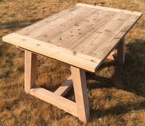 Cedar top farmhouse table dining trestle for Sale in Portland, OR