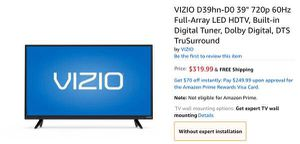 """VIZIO 39"""" LCD HD TV-$50 for PARTS for Sale in Austin, TX"""